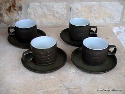 Denby-Langley Camelot Dark Green Older 4 Cups & Saucers England