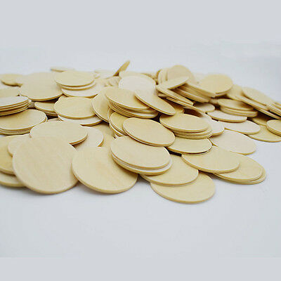 100x 2cm Unfinished Circles Round Disc Wood Cutouts Ornament Craft Project Coins