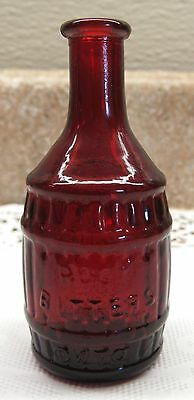 Vintage Kitchen Red Bottle Wheaton NJ Glass Root Beer Barrel Shape Bitters 3""