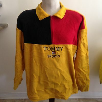 Vintage Tommy Sports Fleece Sz Large 1990s Color Block Spell Out