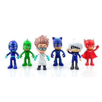 6PCs Pj Masks Characters Catboy Cloak Action Figure Toys Boy Plastic Dolls