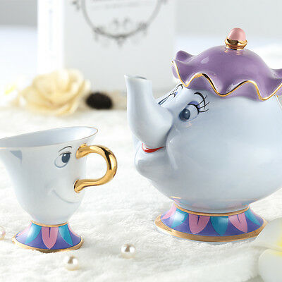 Hot Sale Beauty and The Beast Tea Pot Set Mrs Potts Teapot Chip Cup Ceramic Gift