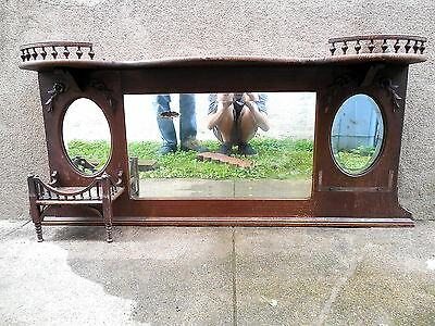 Antique Rose & Leaf Wood Carved Oval Bevel Edge Mirror Wall Shelf Curio Cabinet