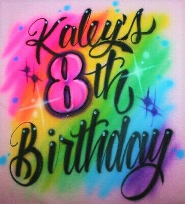 Airbrushed Girls Happy Birthday Party T SHIRT Personalized 5th 6th 7th 8th Tutu