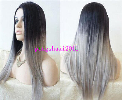 Grey Ombre Straight Synthetic Lace Front Wig Heat Resistant Long Full Hair Wigs