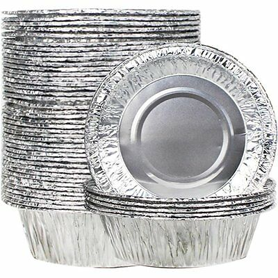 Goodlucky365 50Pcs Disposable Foil Pie Dish13CM Baking Dishes Fluted Tartlet Tin
