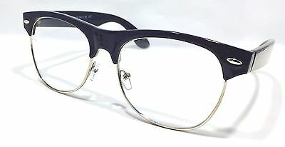 f58ebaf835 Clubmaster Half Frame Clear Lens Glasses Black Color Vintage Retro  Eyeglasses