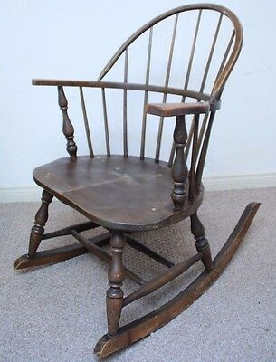 1900u0027s Antique Heywood Wakefield Rocking Chair Wood Spindle Windsor  Furniture