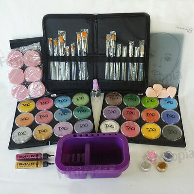 32g x 24 colour TAG face paint pro starter kit -brushes, sponge, glitter, makeup