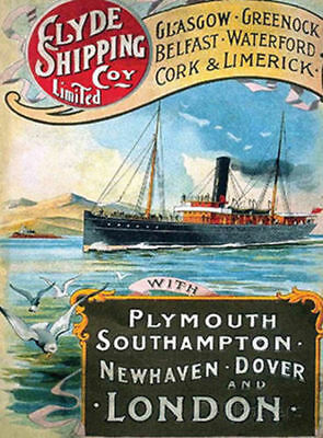 Clyde Shipping Glasgow Belfast Dover Steamer Steam Ship Metal Plaque Sign 1022