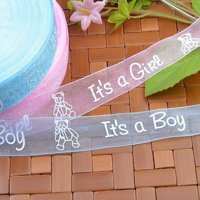 25/100Y 25mm It's a Boy / Girl Sheer Organza Ribbon Blue Pink Baby Party Wrap