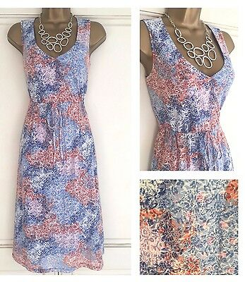 New Ex M&s White Blue Pink Coral Floral Cotton Mix Summer Dress Size 8 - 18