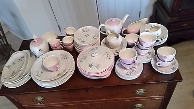 J & G Meakin fine china pink and gray innocence pattern 92 pieces