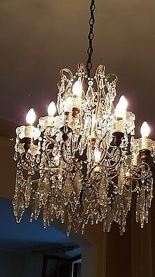Antique rare Louis XVI style 1920s Chandelier precius swaroski crystal 12Light