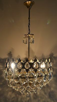 Vintage Antique French Basket Style Brass& Crystals Chandelier Ceiling Lamp