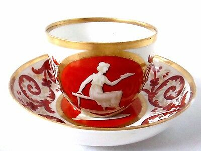 Coalport Porcelain Very Beautiful Classical Figures Decorated Cup & Saucer C1805