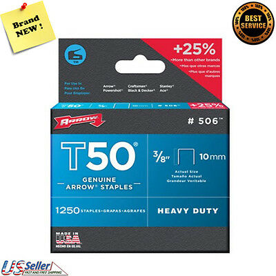 """Arrows Staples T50 506, Heavy Duty, 1250 Staples, 3/8"""" 10mm, New, Free Shipping"""