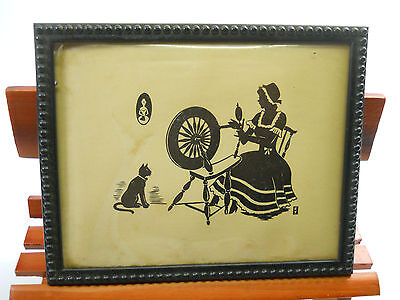 VTG Pictures Cat Frame Lady sewing Made In USA RARE