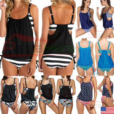 Women's Tankini Bikini Set Push-up Padded Swimsuit Bathing Suit Swimwear
