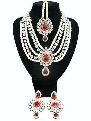 Indian Ethnic Bridal Pearl Necklace Set Earrings Pakistani Wedding Jewellery