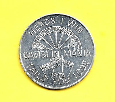 Heads I Win ~ Tails You Lose Token ~ 1973 Gambling Mania Coin