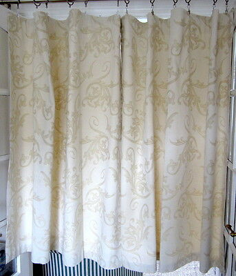 Small Cream/Champagne Jacquard Fabric Curtains lined  W1.3m x L1.3m each panel