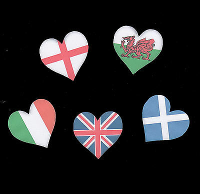 Die Cut Flag Heart Shaped Craft Embellishments x 10 - Choice of home nations