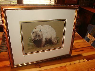 Beautiful Handmade Finished Needlepoint Picture Of A Grizzly Bear-Matted-Framed