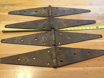 Four Vintage Large  24 Inch Strap Hinges Rustic Steampunk Barn Door Gate