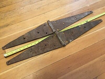Two Vintage Large 28 Inch Strap Hinges Rustic Steampunk Barn Door Gate