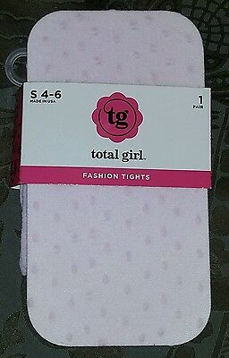 NEW Total Girl J C Penney Small (4-6) Girl's Pink Raised Dots Tights