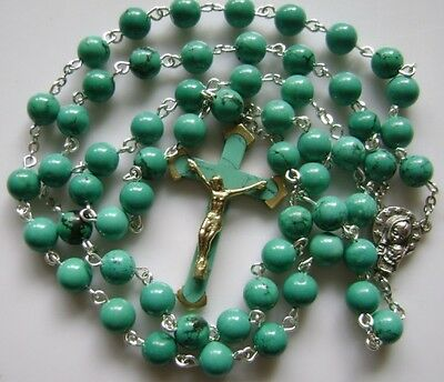 Turquoise BEADS Natural & Turquoise CROSS  ROSARY Catholic Crucifix NECKLACE
