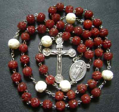 Nice oxen Rose Beads Red Chalcedony Rosary & Cross CRUCIFIX CATHOLIC NECKLACE