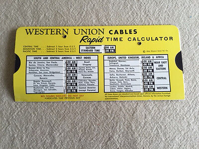Western Union Cables Rapid Time Calculator Vintage 1954 Collectible