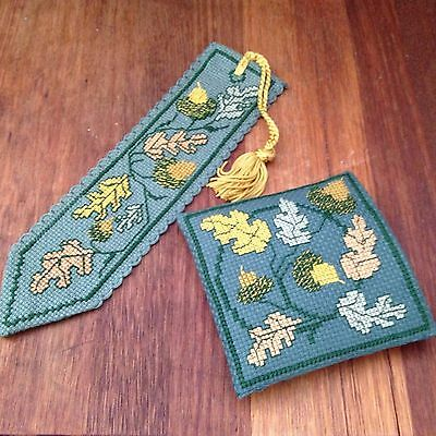 2 Delicate Embroidered Items  Acorn Motif-  Bookmark & Ring Coin Keepsake Purse