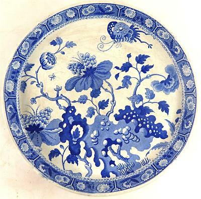 Antique Georgian Spode Blue & White Cake Cheese Stand Dish Plate India Pattern