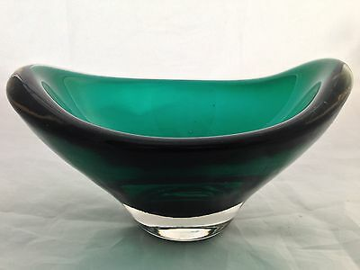 "WHITEFRIARS 5.5"" Green Cased Glass OVAL BOWL  / pattern 9515 / 1964"