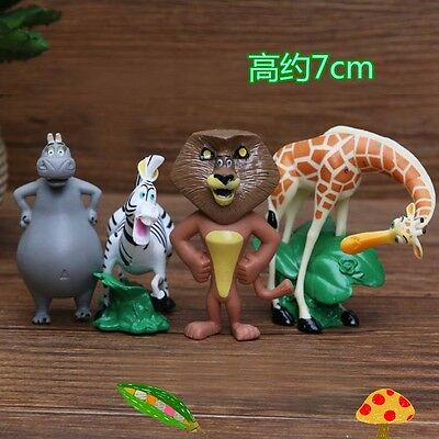 Set of 4pcs Cartoon Movie Madagascar Alex cake Topper Figures Toy Gift NEW