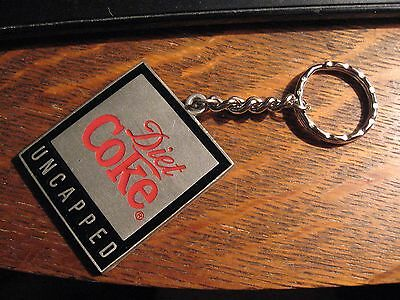 Diet Coke Keychain - Coca Cola Soda Pop Uncapped Pewter Coke Logo Key Ring Chain