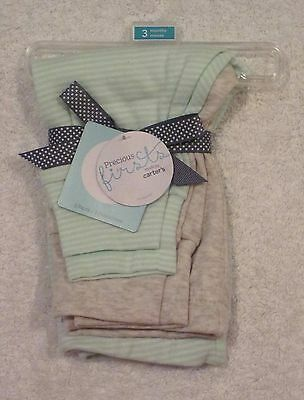 Carter's Precious 1st Baby Boy or Girl 2 Pack of Pants 3 Months Beige & Mint NWT