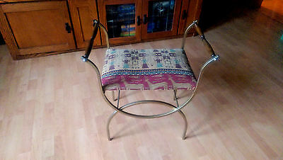 Mid Century Hollywood Regency Bench Gold METAL Native American tapestry seat