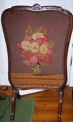 Antique Vintage Fireplace Fire Screen Panel w/ Needlework Front