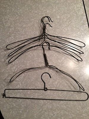 Vintage Set Twisted Heavy Gauge Wire Coat Clothes Hanger