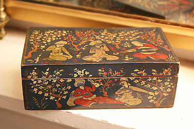 A fine Antique c19th Islamic Indian or Persian Painted Figural Box