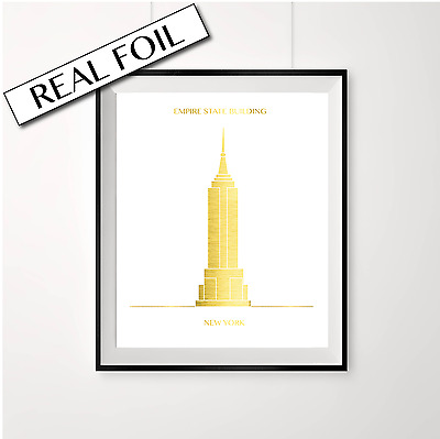 Gold NEW YORK print / Empire State Building Architecture / Travel World Poster