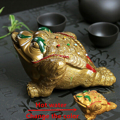 Resin Color-changing Lucky Money Toad Figurine Frog Statue With The Coin Tea Pet