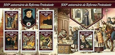 Z08 GB17010ab GUINEA BISSAU 2017 500 Years Reformation martin luther MNH Set