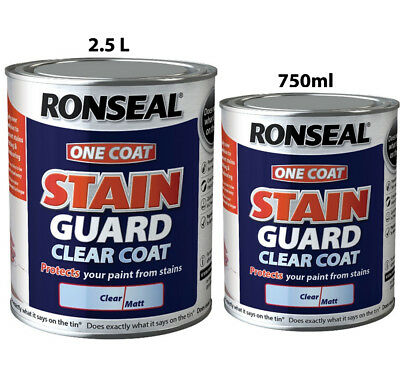 Ronseal One Coat Stain Guard Clear Coat Tough Scrubbable Finish in 750ml & 2.5 L