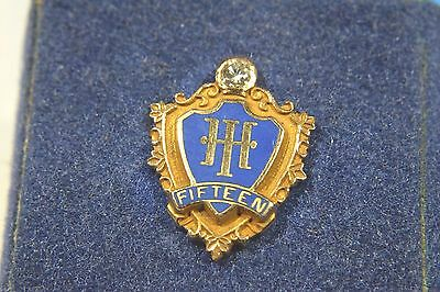 Very Rare Antique HILTON HOTELS 14k Solid Gold & Diamond SERVICE PIN ~ 15 YEARS