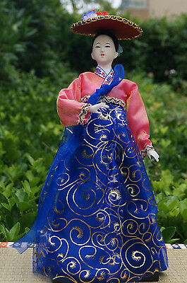 Ancient Korea Traditional Girl Figurine Brocade Beauty Collectible Handmade-39